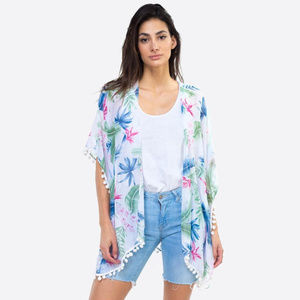Tropical leaves pompom kimono swimsuit cover up